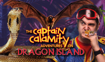 Captain Calamity with a host of animals including a snake and a bat