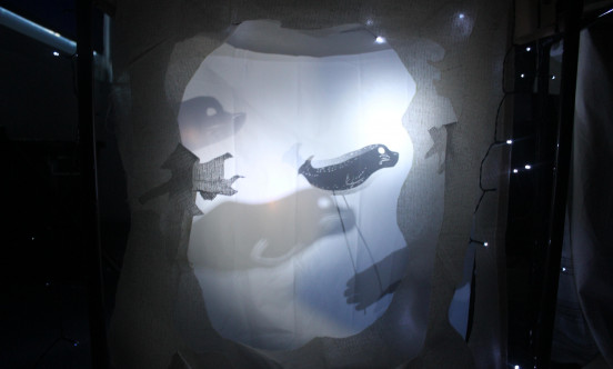 A shadow puppet of a seal