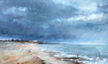 An oil painting of a windy Suffolk beach