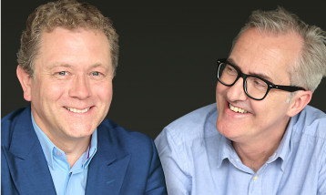 A picture of Jon Culshaw and Bill Dare beside each other both smiling.