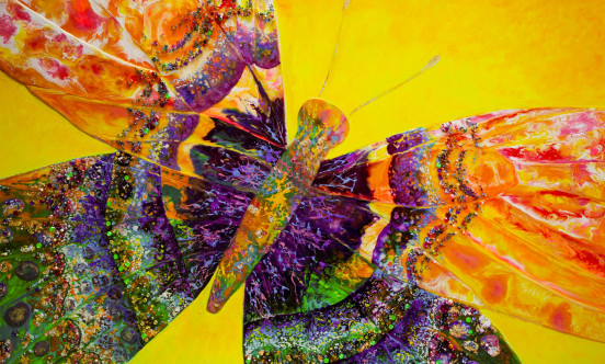 A painting of a butterfly in many different colours.