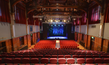 A picture from the back of the Elliott Hall showing the full view of the theatre.
