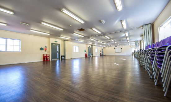 A picture showing the big rehearsal space.