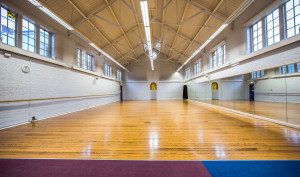 A picture showing the full space of the Dance Studio