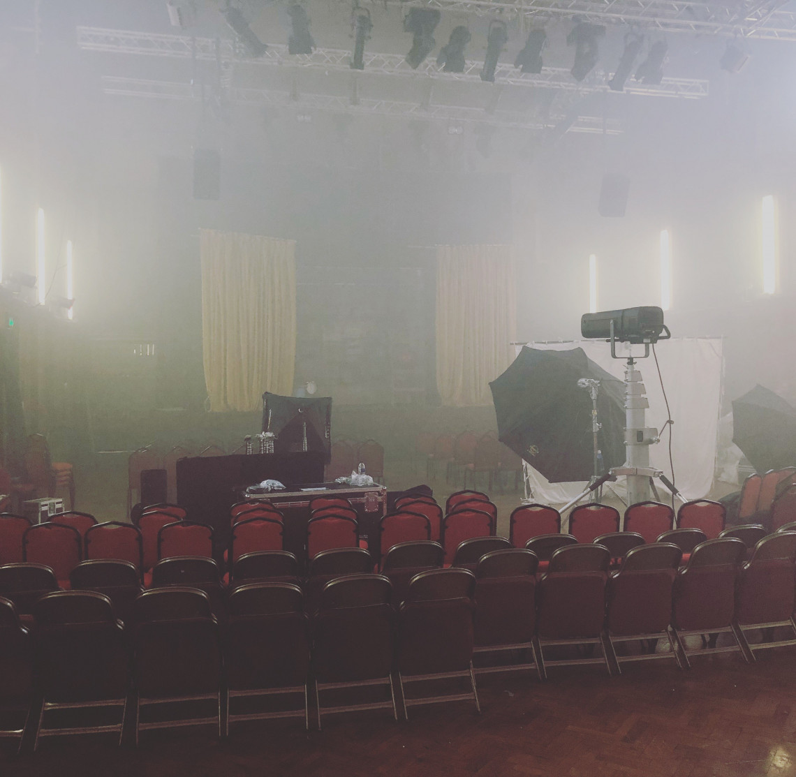 A picture showing the filming of the Elliott Hall.