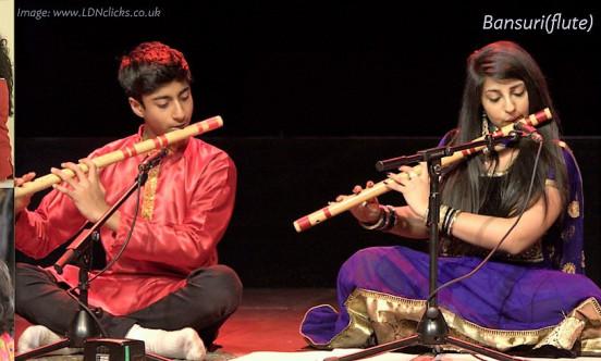 Children playing Bansuri Flute