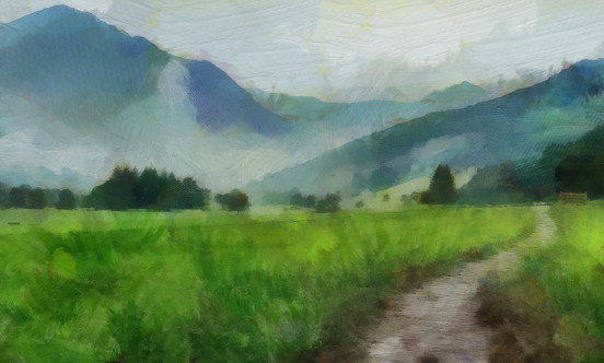 An oil paitning of a sleepy valley
