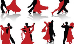 A picture of females in red and males in black dancing together.