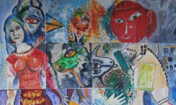 Artwork from Mixed Media Magic class