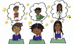 Drawing of children dreaming of future careers