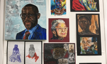 a collection of paintings by students at St Margaret School