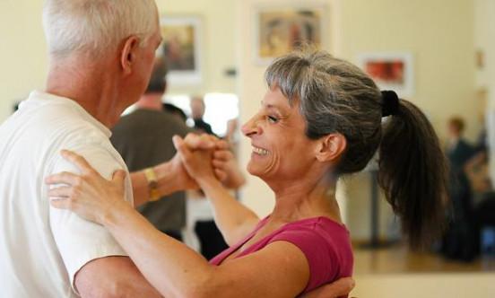 A man and women dancing