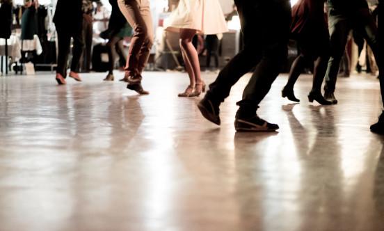 Dancing feet in a dance hall