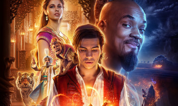 Poster for Aladdin Movie with all major charcters, Aladdin, Genie and the Princess